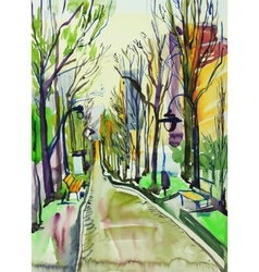 Original watercolor painting of city park vector