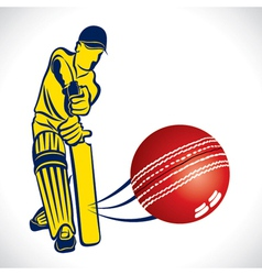 Cricket player hit the ball vector