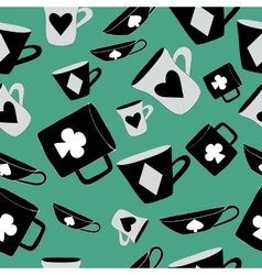 Alice Cups and cards Seamless - vector image