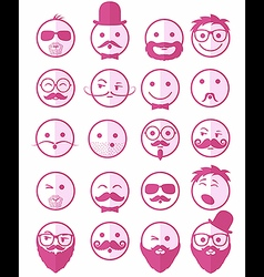 Icon set 20 mans faces pink half vector