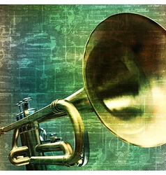 Abstract music grunge vintage background trumpet vector