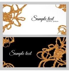 Golden glitter paint doodles greeting card vector