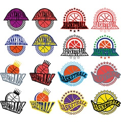 Basketball badges with stars and laurel wreath vector