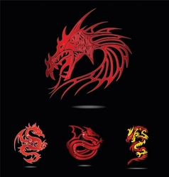 abstract and tradition religion red dragons vector image