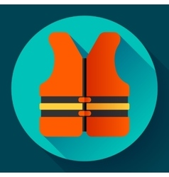 Life safety jacket vest icon flat 20 vector