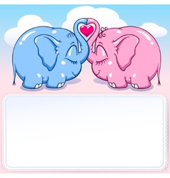 baby elephant in love banner vector image