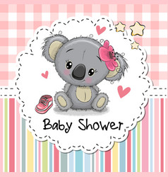 baby shower greeting card with cartoon koala girl vector image vector image