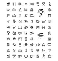 Black movie icon set vector