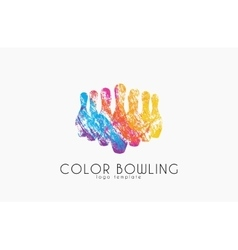 Bowling game logo Color bowling Sport logo vector image