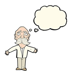 Cartoon disappointed old man with thought bubble vector