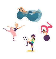 Cartoon kids doing sports set vector