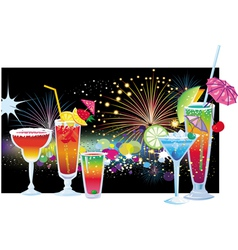 Cocktails and fireworks vector