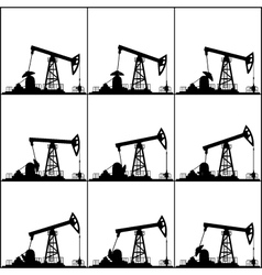Different positions working oil pumps vector