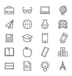 Education and School Icons Line vector image