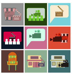 Flat icons set cinema vector