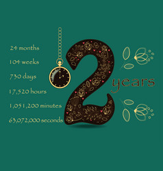 floral card with number two and pocket watch vector image