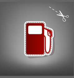 Gas pump sign red icon with for applique vector