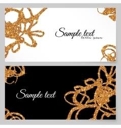 Golden glitter paint doodles greeting card vector