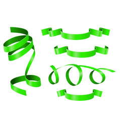 green ribbons banner scroll vector image vector image