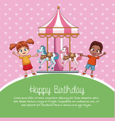 Happy birthday card cartoons vector