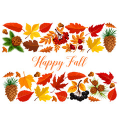 Happy fall banner with autumn leaf border vector