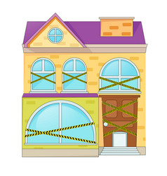house with prohibition of entry ribbons vector image vector image
