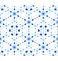 indigo dots hearts blue flower pattern vector image vector image