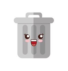 Kawaii trash bucket icon vector