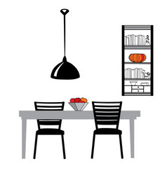 kitchen furniture set table chairs lamp cupboard vector image vector image