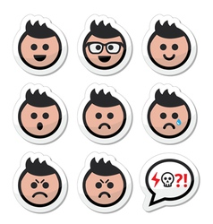 Man or boy with spiky hair faces icons set vector image vector image