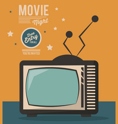 Movie night card televison device vintage vector