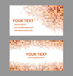 Orange square mosaic business card template vector