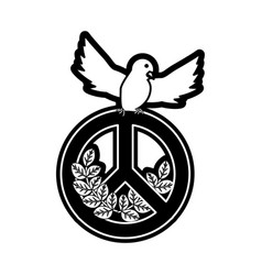 peace dove with peace symbol vector image vector image