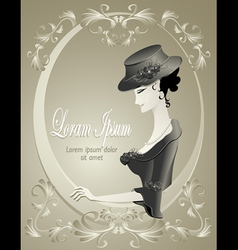 Retro girl in hat with flowers in frame vector