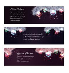 set of christmas horizontal banners with fir-tree vector image vector image