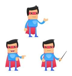 set of funny cartoon superhero vector image vector image