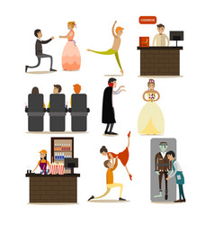 Set of opera concept icons flat style vector
