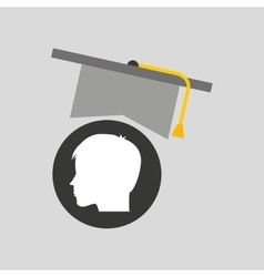 Silhouette head boy student hat graduation vector
