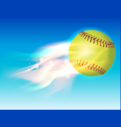 Softball on fire in the sky vector