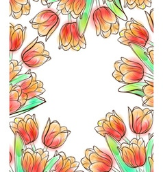 Tulips frame design template vector