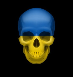 Ukrainian flag skull vector