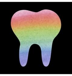 Watercolor tooth icon vector