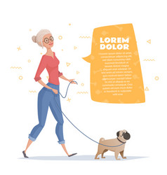 Woman is walking with a dog pug vector