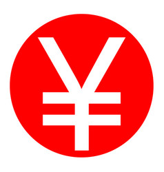 Yen sign white icon in red circle on vector