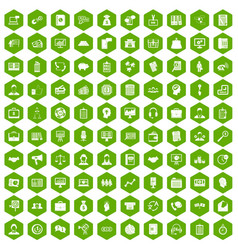 100 business people icons hexagon green vector