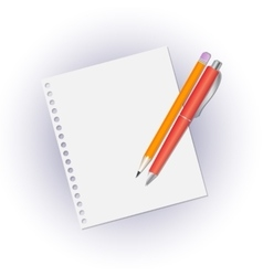 Pencil and pen on a blank sheet of notebook vector