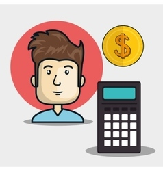 Avatar man with calculator device vector