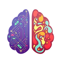 Right left brain symbolic colorful image vector