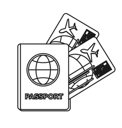 Isolated passport and tickets design vector