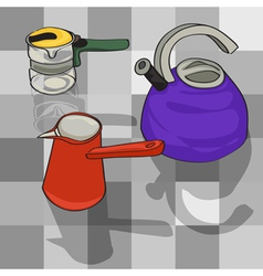 Kitchen kettles vector